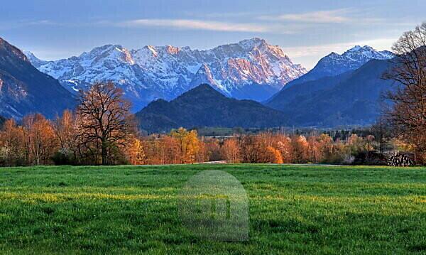 Alpine foothills against Zugspitzgruppe (2962m) in the evening sun, Ohlstadt, Das Blaue Land, Upper Bavaria, Bavaria, Germany