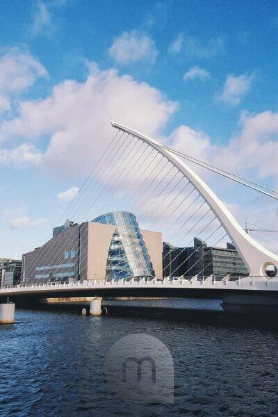 Samuel Beckett Bridge with the Convention Center behind it, Dublin, Ireland