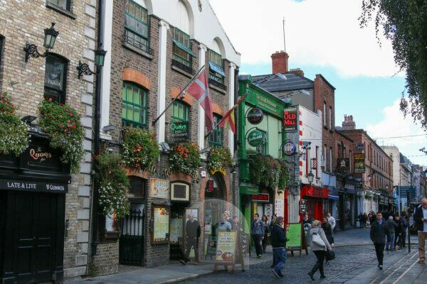 Facades of houses in Dublin's trendy pubs typically Irish