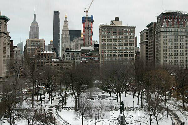 Aussicht über Union Square in Manhattan im Winter