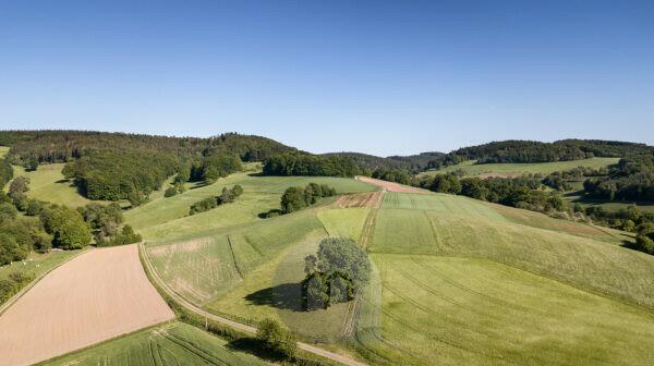 Otzberg, Hessen, Germany. Aerial view of fields in the Odenwald.