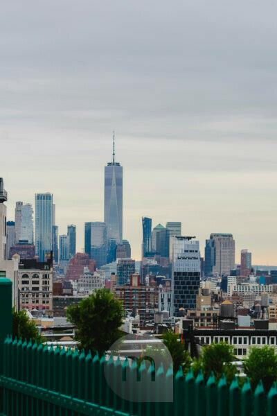Rooftop view of Manhattan New York on skyline and One World Trade Center