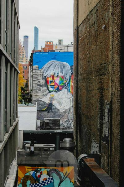 Sightseeing entlang der High Line in Manhattan mit Aussicht auf Graffiti und Wohnhäuser