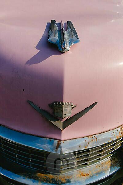 Pink Cadillac Oldtimer vor Restaurant in Virgina, USA, alt, rostig