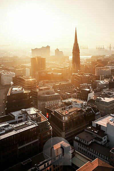 HafenCity Hamburg with Elbphilharmonie and St. Nikolai Memorial