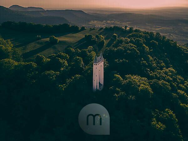 Schönbergturm Pfullingen, Pfullinger Onderhos, underpants, Schönberg, Pfullingen, Swabian Alb, Baden-Württemberg, Germany, Europe, aerial view, sunset