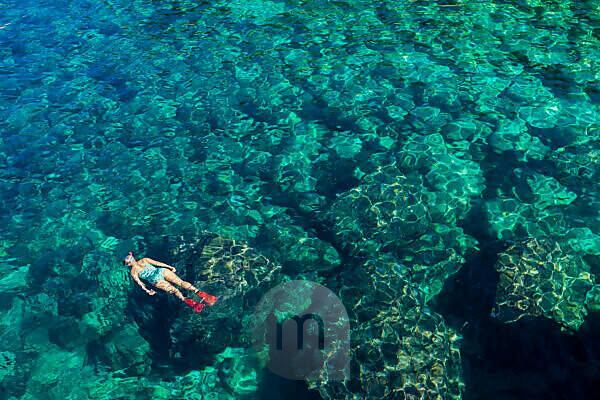 Meer, Wasser, schnorcheln, Person, kristallklar, klar