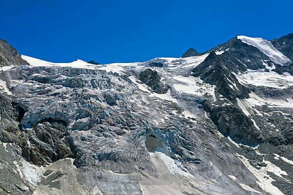 Glacier break on the Moiry Glacier, Glacier de Moiry, Val d'Anniviers, Valais, Switzerland
