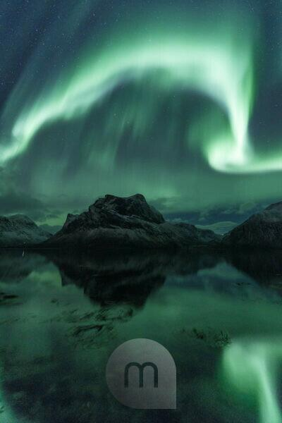 Northern lights / aurora borealis over Bergsbotn, a fjord on the island of Senja in Norway