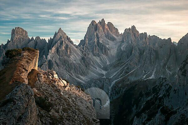 Striking peaks near the Drei Zinnen / Tre Cime in the Dolomites, South Tyrol, Italy in sunset
