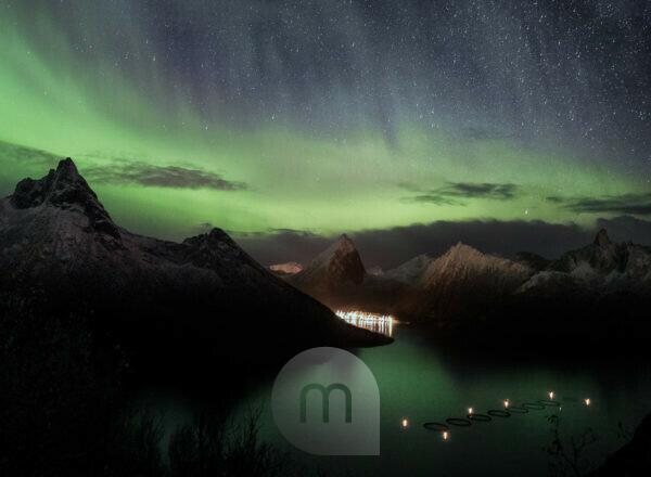 Nordlichter über Fjordgård auf der Insel Senja in Norwegen bei Nacht