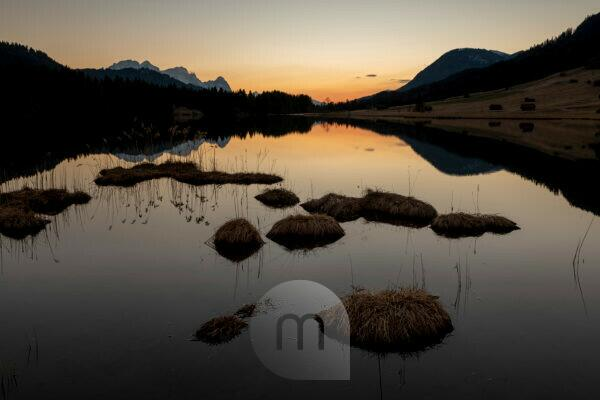 Reeds on the banks of the Geroldsee / Wagenbrüchsee after sunset. In the background Zugspitze, Alpspitze and Wetterstein Mountains.