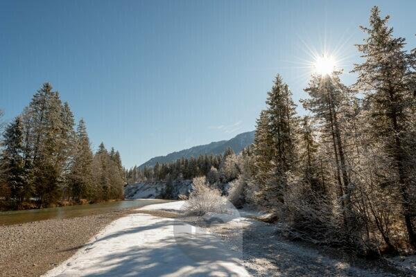 Sonnenstern on the Isar near Vorderriss and Wallgau in the Karwendel in winter with fresh snow