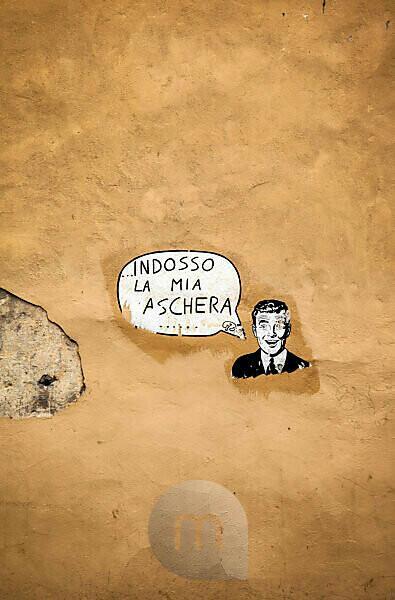 Mauer, Graffiti, Lucca, Toskana, Italien