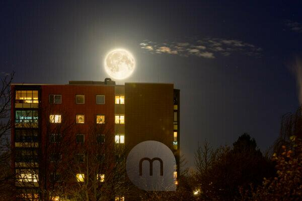 Germany, Baden-Wuerttemberg, Karlsruhe, residential complex with full moon.