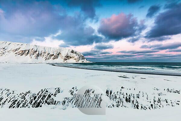 Beach in winter, Berlevag, Norway