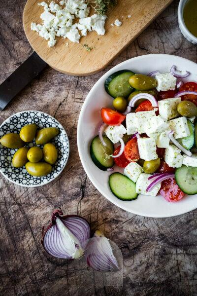 Bowl of†ready-to-eat†Greek salad and its ingredients