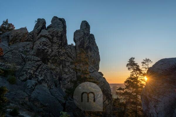 Germany, Saxony-Anhalt, Timmenrode, Hamburg coat of arms, Devil's Wall, sunrise, Harz, UNESCO Global Geopark