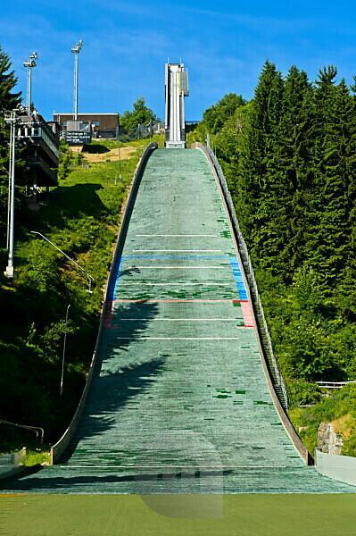 The Grosse Fichtelberg ski jump, Kurort Oberwiesenthal, Ore Mountains, Saxony, Germany