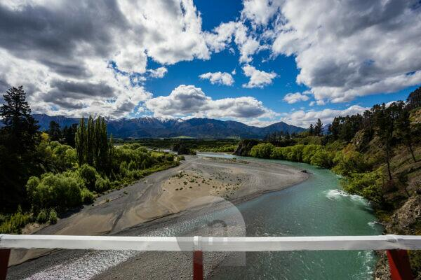 Bridge view from Highway 7, Hanmer Forest Mountains and Waiau River