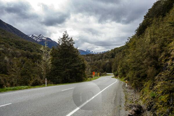 Highway 7 with traffic sign, South Island New Zealand