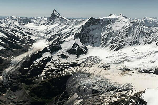Schweiz, Kanton Bern, Berner Oberland, Berner Alpen, Finsteraarhorn, Fiescherhörner