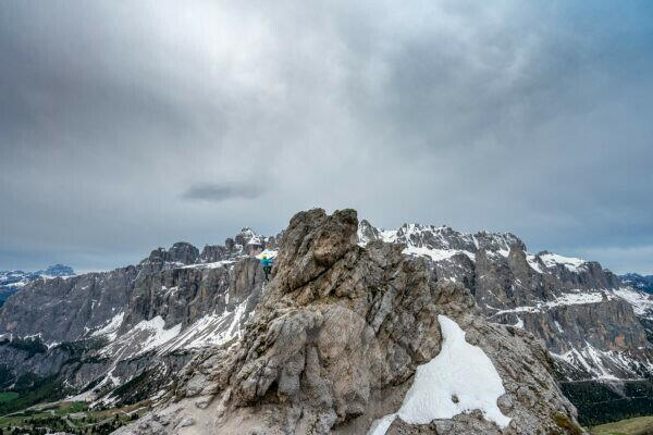 Gardena Pass, Bolzano Province, South Tyrol, Italy. On the way on the via ferrata to the Kleine Cirspitze