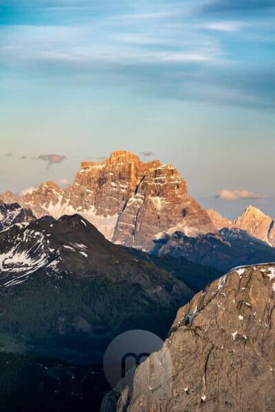 Gardena Pass, Bolzano Province, South Tyrol, Italy. View at sunset from the summit of the Großer Cirspitze to Monte Pelmo