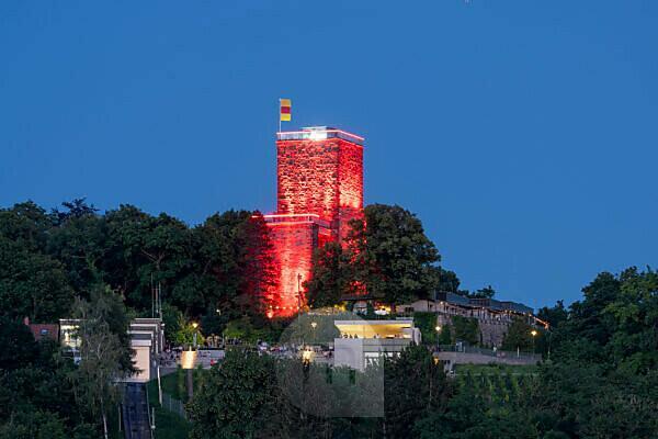 "Germany, Baden-Württemberg, Karlsruhe, the illuminated Turmberg on the day of the ""Night of Light""."