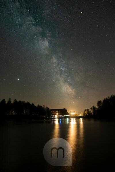 Germany, Baden-Württemberg, Black Forest, Mummelsee, the Milky Way over the lake.