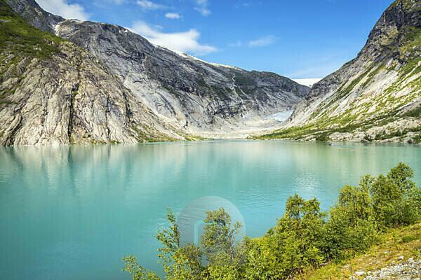 View over the glacier lake Nigardsbrevatnet to the glacier Nigardsbreen in Jostedal, Gjerde, Gaupne, Sogn og Fjordane, Norway