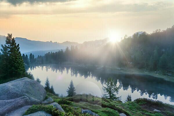 Colbricon lake, natural park paneveggio pale di san martino, trentino, trento, italy
