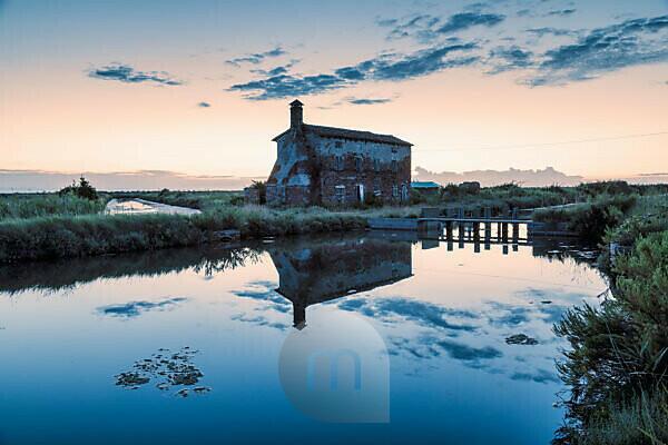 old abandoned rural building in the lagoon of lio piccolo, cavallino treporti, venice, veneto, italy