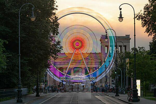 "Ferris wheel at Munich's Königsplatz at dusk, during the ""Summer in the City"" event"