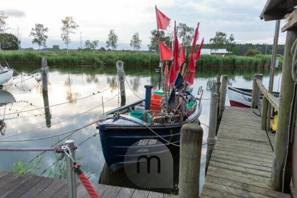 Germany, Mecklenburg-Western Pomerania, Ostseebad Sellin, Moritzdorf, fishing boat, flags