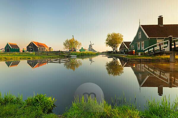 Zaanse Schans open air museum at sunrise, Zaandam, North Holland, Netherlands