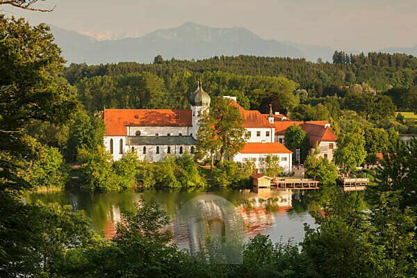 Seeon Abbey on Seeoner See at sunset, Chiemgau, Upper Bavaria, Germany