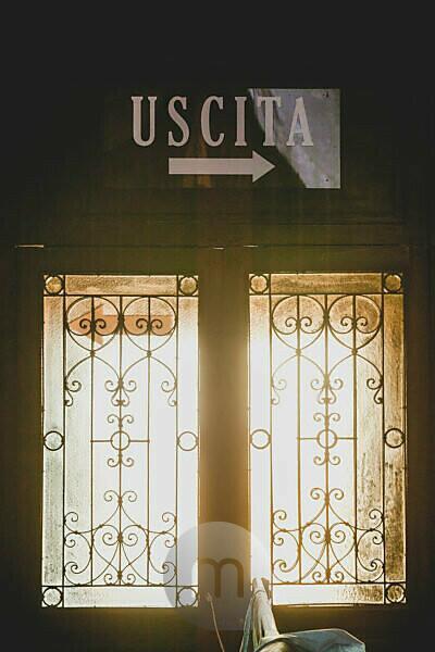 Window with wrought iron lattice, Santuario di Santa Rosalia, place of pilgrimage, Christianity, Palermo, Sicily, capital, big city, Italy
