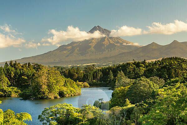 Lake Mangamahoe with Mount Taranaki (2518m), Egmont National Park, Taranaki, North Island, New Zealand, Oceania