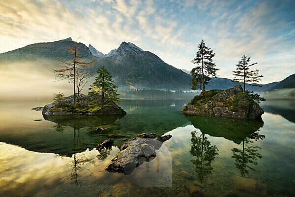 Hintersee, Berg, See, Alpen, Wasser, Morgen, Stimmung, Inseln, Bäume, Herbst, Berchtesgaden, ,