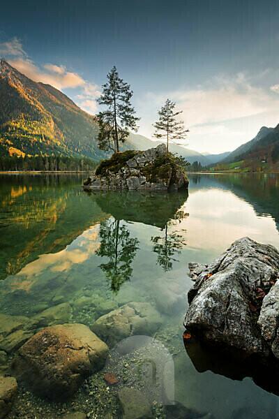 Berge, See, Hintersee, Alpen, Wasser, Insel, Stimmung, Himmel, Steine,