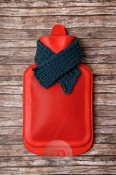 Hot-water bottle, scarf, medicine, health
