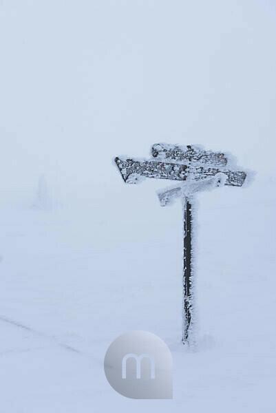 icebounded sign, Brocken (mountain), Harz, Schierke, Germany