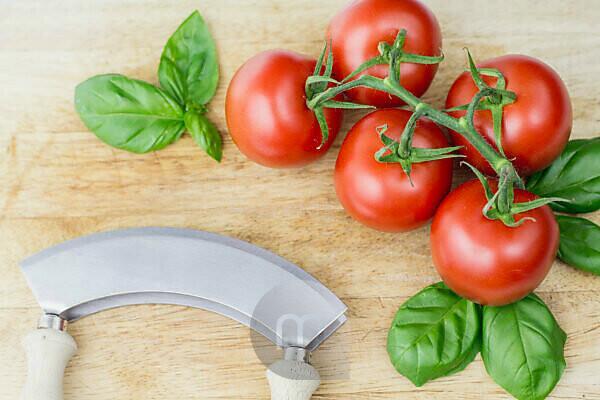 Tomato with fresh basil,
