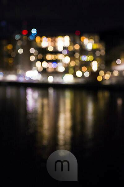 Schweden, Göteborg, Lichter der Stadt bei Nacht