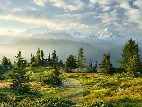 Émosson, Valais, Switzerland (foreground), Aiguille Verte, Haute-Savoie, France (background)
