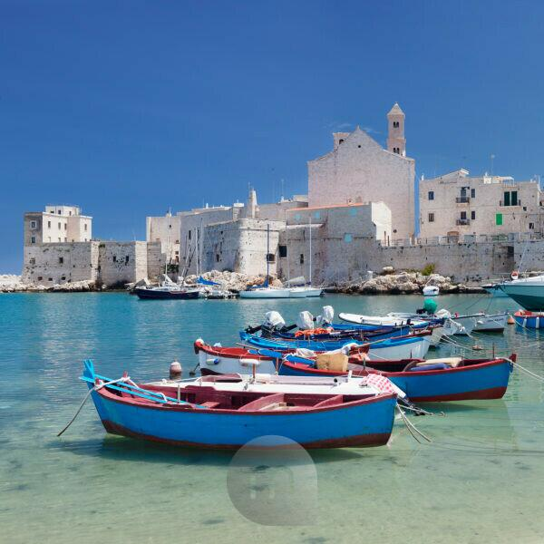 Harbour with Old Town and cathedral, Giovinazzo, province of Bari, Apulia, Italy