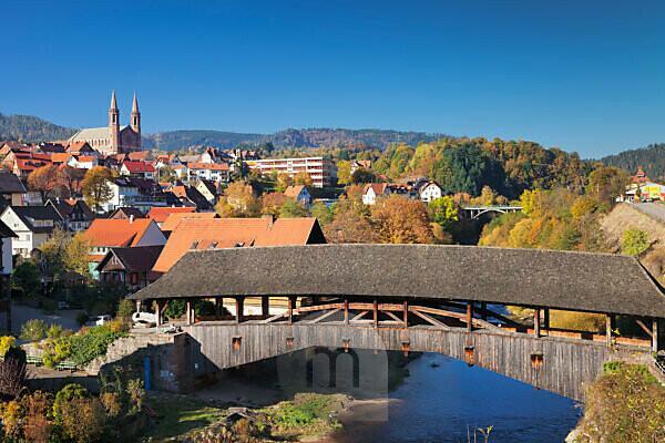 Historical wooden bridge, Forbach, Murgtal, Black Forest, Baden-Wurttemberg, Germany
