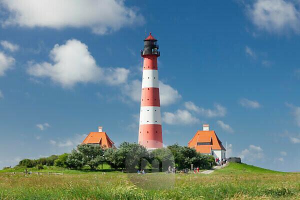Lighthouse Westerheversand, Westerhever, peninsula Eiderstedt, Schleswig Holstein, Germany