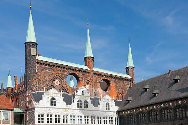 Rathaus am Marktplatz von Lübeck, Schleswig Holstein, Deutschland